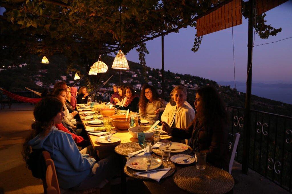 Pelion Homes Yoga Retreat dinner at night