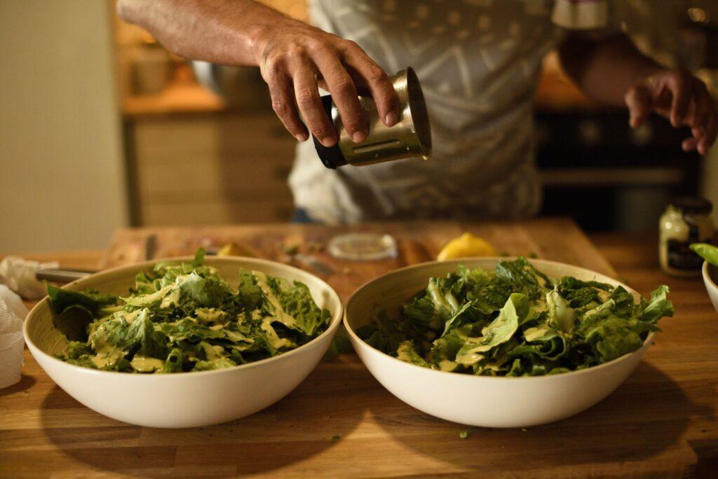 Pelion Homes Yoga Retreat Salad preparation