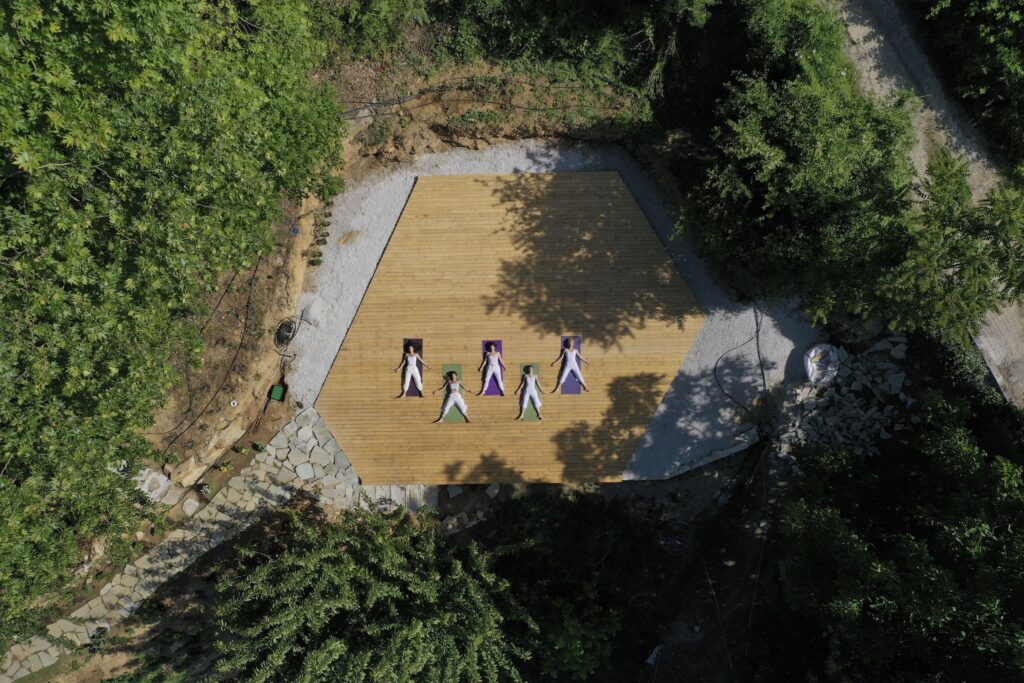 Pelion Homes Yoga Retreat from above