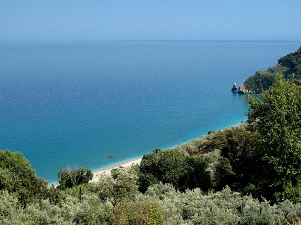 Amazing panoramic view of the Aegean sea the gulf of Pagasitikos in Pelion.