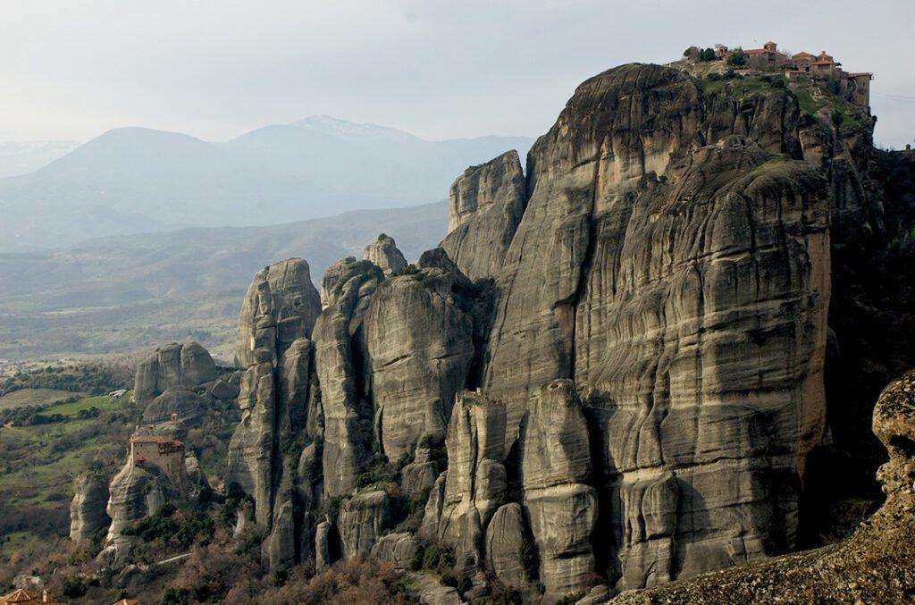 Amazing view of Meteora Monasteries built on the top of huge pillars of rock.